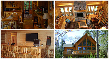 Collage of four log home photos; View our Log Home Showroom