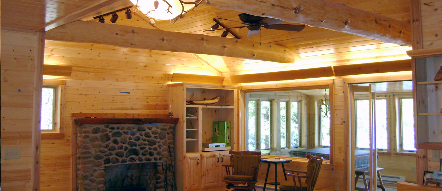 Wood ceiling beams of a custom log home
